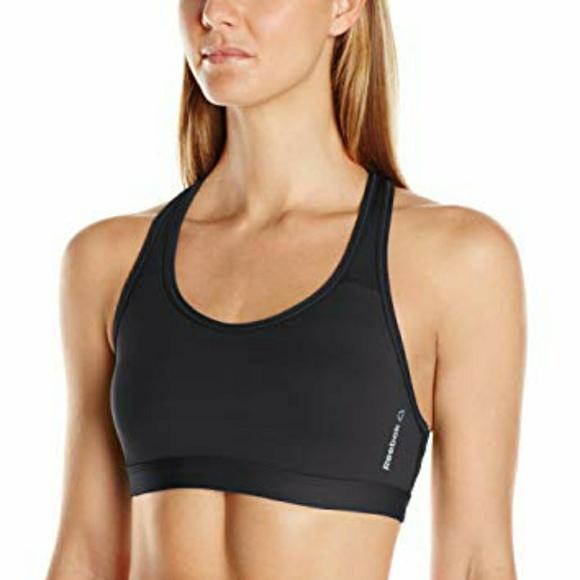 New Womens Reebok Hero Racer Brand Bra 2.0 Black//Gold Size XS Extra Small